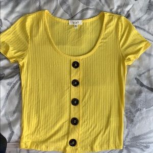 💛 SOLD 💛VSCO YELLOW TOP button down tee 💛